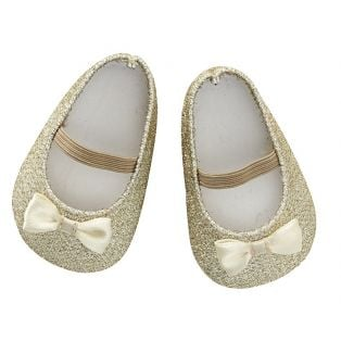 Astrup Doll Shoes, Glitter Gold, 7 x 4cm