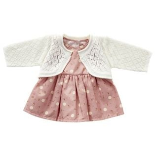 Astrup Sleeveless Pink Dress & Knitted Cardigan 40-45cm