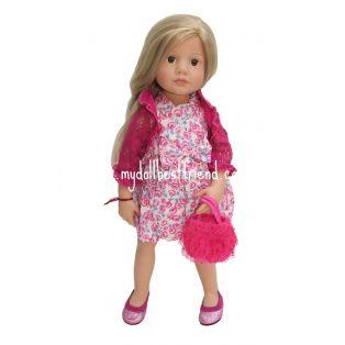 Gotz Pink Floral Dress, Bolero, Bag, Shoes, XL
