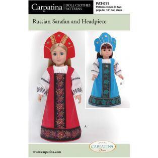 Doll Paper Sewing Pattern: Russian Sarafan & Headpiece