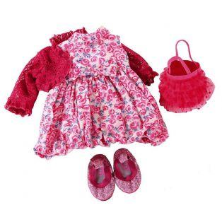 Gotz Pink Floral Dress, Bolero, Bag, Shoes, XL alternate image