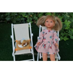 Rustic 25cm Deckchair For 21-30cm Slim Dolls. alternate image