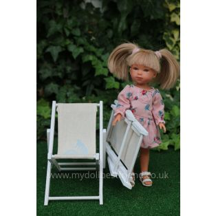 Rustic 25cm Deckchair For 21-30cm Slim Dolls.