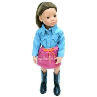 Denim Collection: Shirt & Pink Skirt