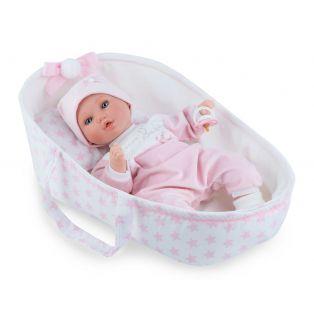 Marina & Pau Alex 38cm Baby Girl In Crib, Cries and Sucks Her Thumb