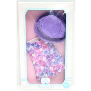 LAST ONE Vestida de Azul PAULINA Purple Floral Dress & Hat 33cm