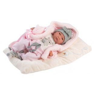 Llorens Reborn Baby Girl Doll in Grey Hat 42cm