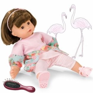 Gotz Maxy Muffin Baby Doll Flamingo Love, Brunette, 42cm, M