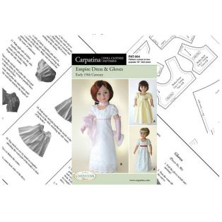 Doll Paper Pattern Empire Dress & Gloves