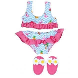 Heless Flamingo Bikini & Sliders 35-45cm