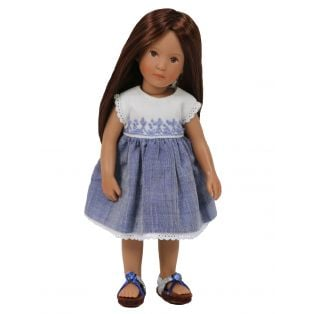 Embroidered Bodice Blue Chambray Boneka Mini Dress 18-21cm/7-8