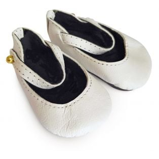 Boneka 65mm Mary Jane Leather Shoes For Wichtel Dolls height 30cm, 32cm, 35cm (White)