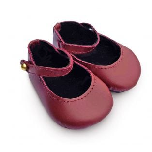 Boneka 65mm Mary Jane Leather Shoes For Wichtel Dolls height 30cm, 32cm, 35cm (Burgundy-Red)