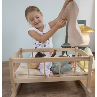 Egmont Toys Wooden Rocking Doll Cradle With Knitted Blanket alternate image