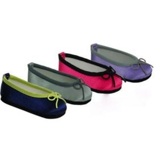 Satin Ballet Shoes (Fuchsia Pink/Black)