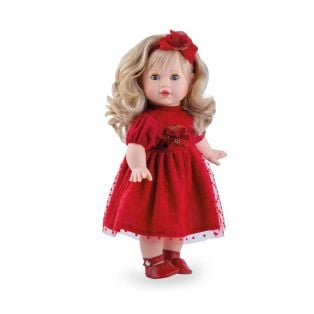 Marina & Pau Toddler Doll Tina 40cm In Red Dress