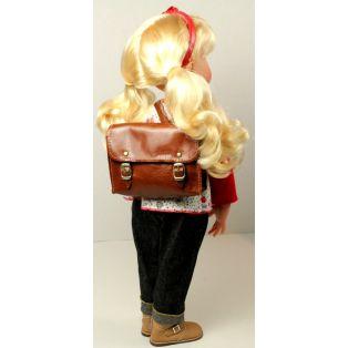 Doll School Bag - Real Leather Satchel 7 x 8 cm (Brown) alternate image