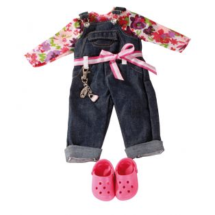 Denim Collection: Gotz Dungarees & Floral Top Set, XL