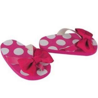 Polka Dot Bow Flip Flop (Pink)