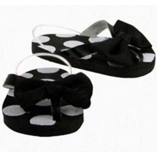 Polka Dot Bow Flip Flop (Black)