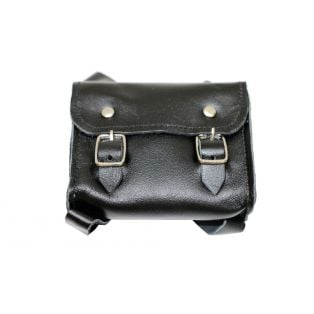 Doll School Bag - Real Leather Satchel 7 x 8 cm (Black)