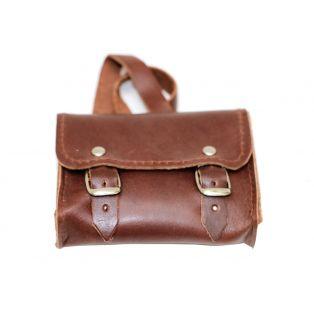Doll School Bag - Real Leather Satchel 7 x 8 cm (Brown)