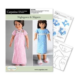 Doll Sewing Pattern: Nightgown & Slippers - Download