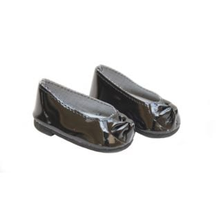Patent Ballet Shoes With Bow (Black)