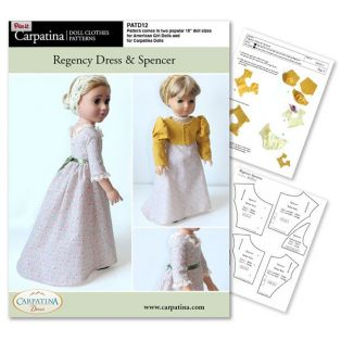 Doll Sewing Pattern: Regency Dress & Spencer - Download