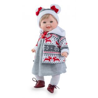 Marina & Pau Toddler Girl Doll Meredith In Red Winter Outfit 43cm