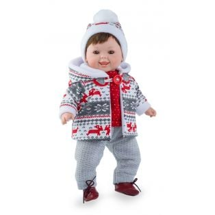 Marina & Pau Toddler Boy Doll Tristan In Red Winter Outfit 43cm