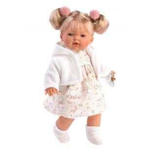 Llorens Blonde Baby Girl Doll Ariana White Cardigan 33cm