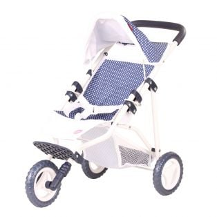 Gotz Doll's Pushchair Buggy In Spotty Blue 3 Wheels Fits Up To 50cm Dolls