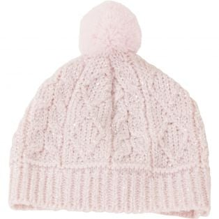 Gotz Knitted Cream & Glitter Argyll Bobble Hat S, M, XL