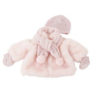 Gotz Pink Fur Coat & Glitter Argyll Bobble Hat, Scarf and Mittens 42cm, 45-50cm M, XL