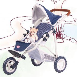 Gotz Doll's Pushchair Buggy In Denim Blue 3 Wheels Fits Up To 50cm Dolls