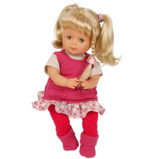 Schildkrot Strampelchen Baby Doll Blonde Hair in Red 37cm