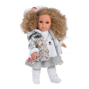 Llorens Elena 35cm Toddler Doll Blonde Curly Hair Sleepy Bear