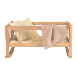 Egmont Toys Wooden Rocking Doll Cradle With Knitted Blanket