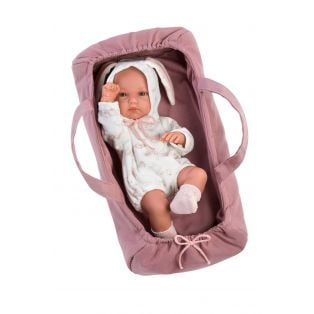 Llorens Baby Girl Doll 35cm Bunny with Carrycot - Anatomically Correct