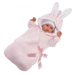 Llorens Newborn Baby Girl Doll Cries in Bunny Sleepbag 36cm alternate image