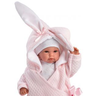 Llorens Newborn Baby Girl Doll Cries in Bunny Sleepbag 36cm