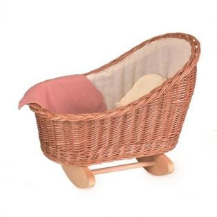 Egmont Toys Wicker Cradle With Knitted Blanket