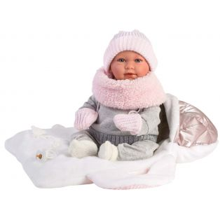 Llorens Baby Girl Doll Portia Cries With Sleeping Bag Carrier, 42cm