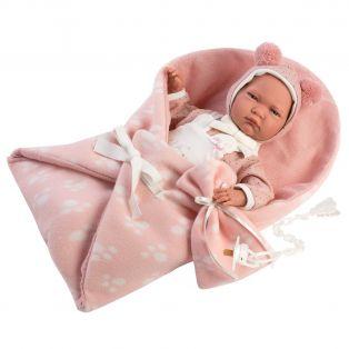 Llorens Baby Girl Doll 40cm & Swaddling Blanket Soft Touch Vinyl
