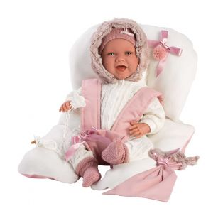 Llorens Baby Girl Doll Mimi Laughing With Car Seat 42cm