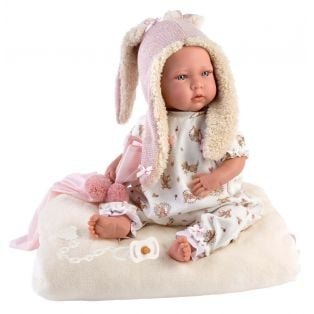 Llorens Baby Girl Doll Mimi Cries With Rabbit Ears 42cm