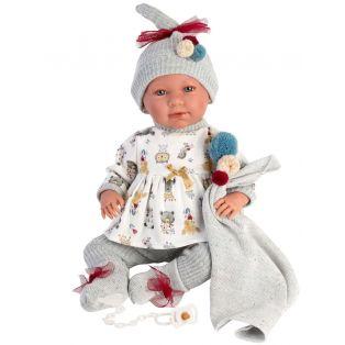 Llorens  Newborn Baby Doll Mimi In Grey Cries, 42cm