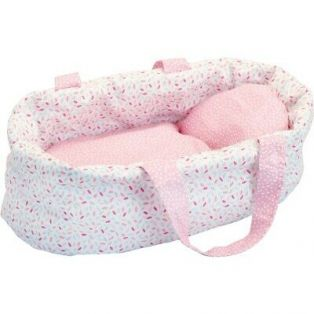 Petitcollin Baby Doll Pink Crib (Moses, Cradle, Bed, Carry Cot) 28cm 11 Inch Minette Dolls