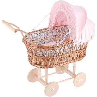 Petitcollin Doll Wicker Pram in Pink 40cm (16
